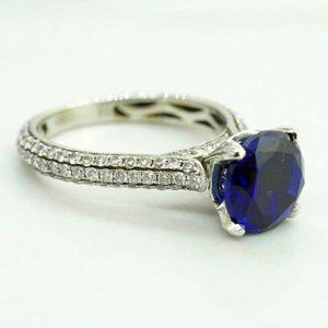 18K White Gold Womens Syn Blue Sapphire with Diamo